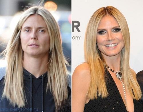 звезда до и после макияжа