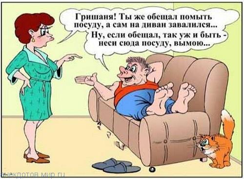анекдот картинка про мужа и жену