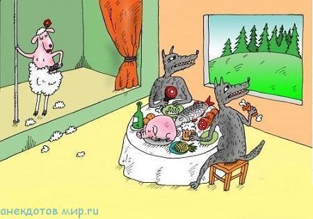 свежий анекдот про волков