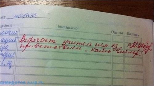фото прикол в школьном дневнике