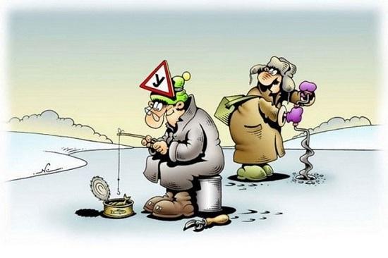 Анекдоты про зимнюю рыбалку
