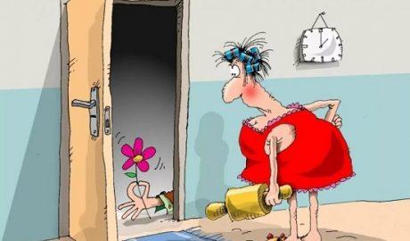 анекдоты про жену и дверь