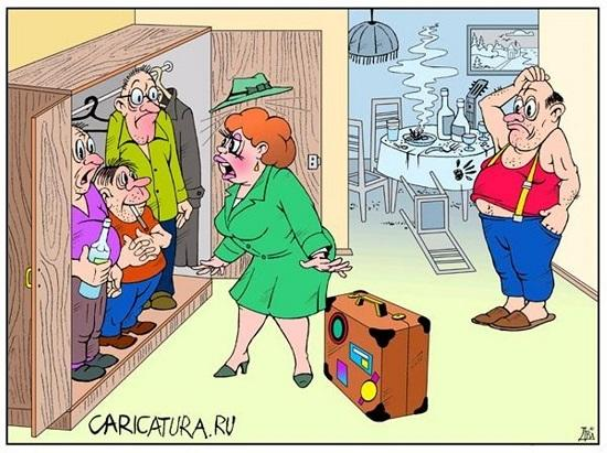 анекдоты про жену и шкаф