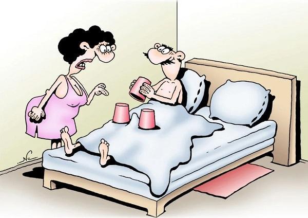 анекдоты про мужа и постель