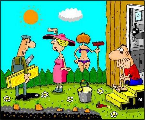 Анекдоты - картинки про дачу и село